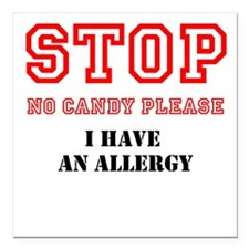 """Allergy Warning Square Car Magnet 3"""" x 3"""""""