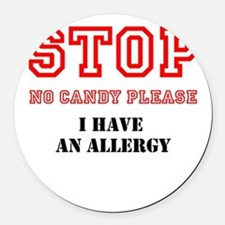 Allergy Warning Round Car Magnet