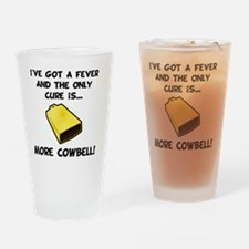 More Cowbell Fever Black Drinking Glass