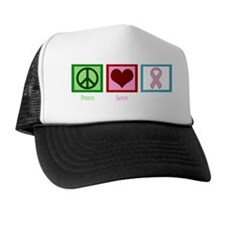 Peace Love Breast Cancer Trucker Hat