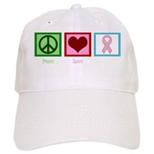 Peace Love Breast Cancer Baseball Cap