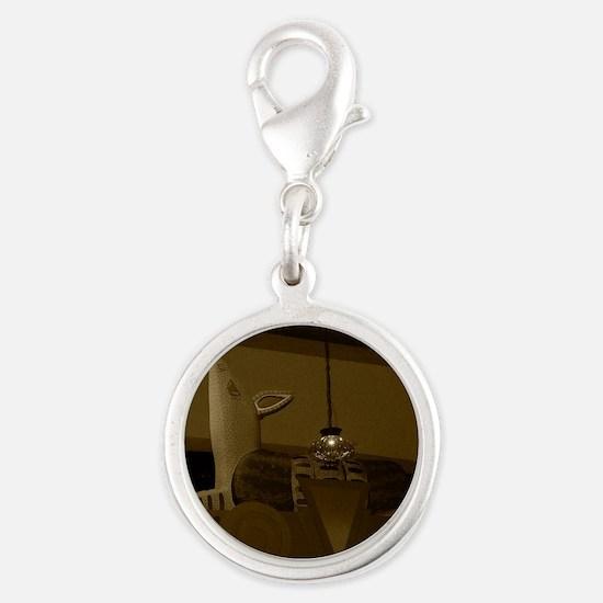 Armadillo Ovhd-Sepia-M Silver Round Charm