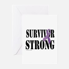 survivor strongpurple Greeting Cards