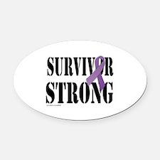 survivor strongpurple Oval Car Magnet