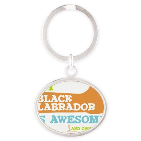 Thumbs-UP-BLK LAB Oval Keychain