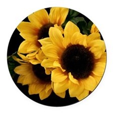 Yellow_Sunflowers Round Car Magnet