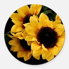Yellow_Sunflowers Round Car Magnet