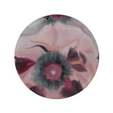 "Large Pink Flowers 3.5"" Button"