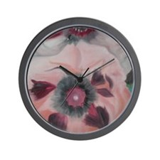 Large Pink Flowers Wall Clock