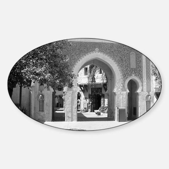 Moroccan Gate-BW-M Sticker (Oval)