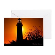 tileFireglowLighthouse Greeting Card
