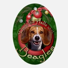 DeckHallsBeagles Oval Ornament