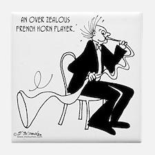 4226_french_horn_cartoon Tile Coaster