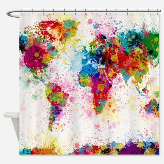 World Map Paint Splashes Shower Curtain