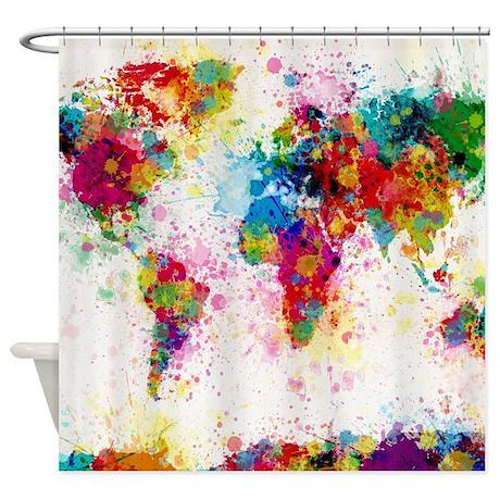 World Map Paint Splashes Shower Curtain