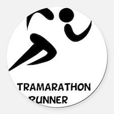 Ultramarathon Runner Back 2 Black Round Car Magnet