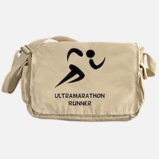 Ultramarathon Runner Back 2 Black Messenger Bag