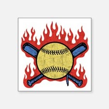 "baseball-flames-T Square Sticker 3"" x 3"""