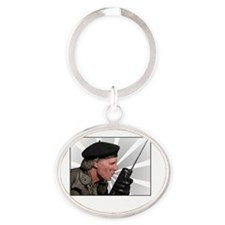 Rumsfield 1 white text Oval Keychain