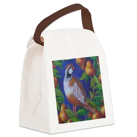 Partridge in a Pear Tree Canvas Lunch Bag
