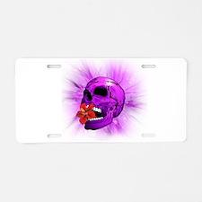 Purple Sugar Skull with Hibiscus Flower Aluminum L