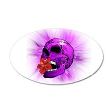 Purple Sugar Skull with Hibiscus Flower Wall Decal