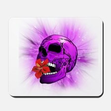 Purple Sugar Skull with Hibiscus Flower Mousepad