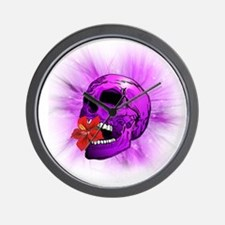 Purple Sugar Skull with Hibiscus Flower Wall Clock