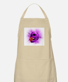 Purple Sugar Skull with Hibiscus Flower Apron