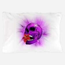 Purple Sugar Skull with Hibiscus Flower Pillow Cas