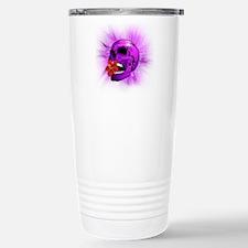 Purple Sugar Skull with Hibiscus Flower Travel Mug