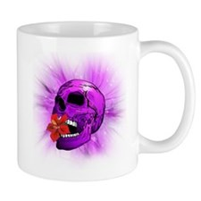 Purple Sugar Skull with Hibiscus Flower Mugs