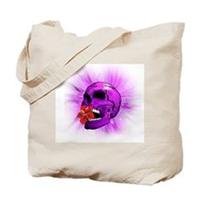 Purple Sugar Skull with Hibiscus Flower Tote Bag