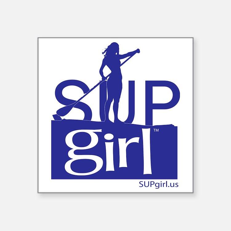 """SUPgirl_T5_blue Square Sticker 3"""" x 3"""""""