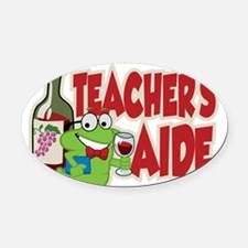 Teachers-Aide-Wine Oval Car Magnet