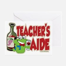 Teachers-Aide-Wine Greeting Card