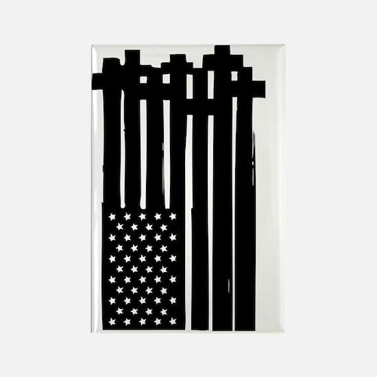 American Flag Crosses Rectangle Magnet