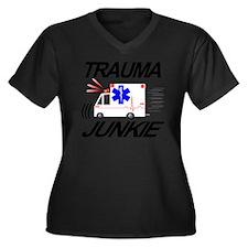 TRAUMA JUNKI Women's Plus Size Dark V-Neck T-Shirt