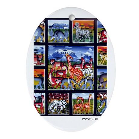 Many animals (Wanyama Wengi) Oval Ornament