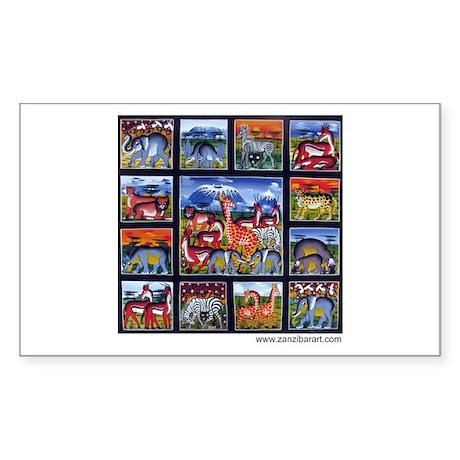 Many animals (Wanyama Wengi) Rectangle Sticker
