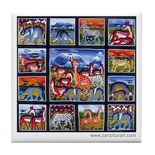 Many animals (Wanyama Wengi) Tile Coaster
