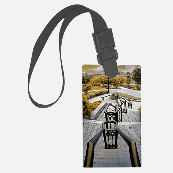 down and away 1 sepia Luggage Tag