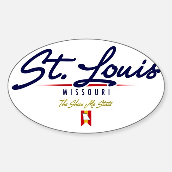 St Louis Script W Sticker (Oval)
