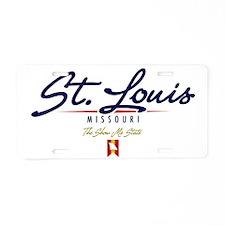 St Louis Script W Aluminum License Plate