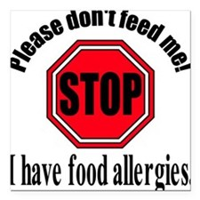 "Food Allergies 1 Square Car Magnet 3"" x 3"""