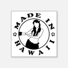 "made in hawaii black Square Sticker 3"" x 3"""