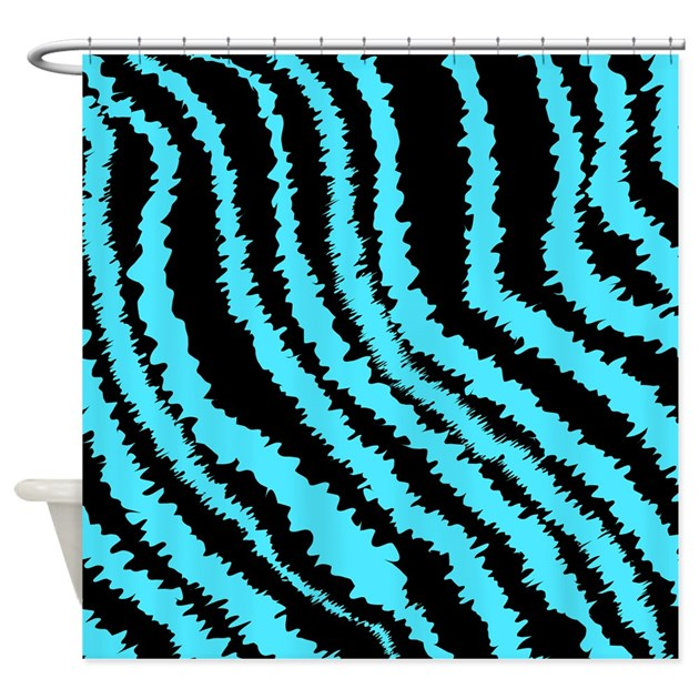 Blue And Black Zebra Print Pattern Shower Curtain By Metarla4