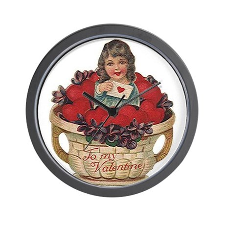 Valentine Basket of Love Wall Clock