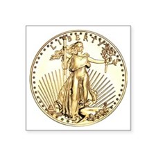 "Liberty-goldcoin Square Sticker 3"" x 3"""