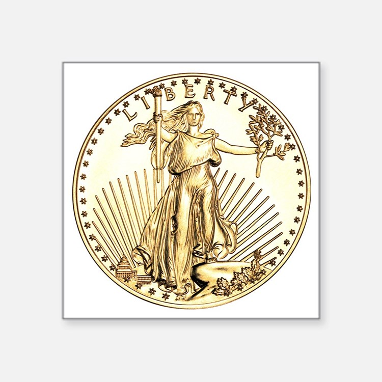 "Liberty-goldcoin Square Sticker 3"" x 3"""
